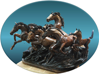 Claro Walnut, Carved by Skip Armstrong Eight Horses