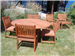 FSC Cumaru Table and 6 Chairs Set 5' Diameter