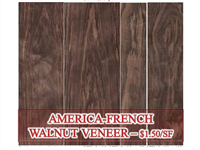 "Walnut, P/S, C&B, French American .6mm   x   124""L"